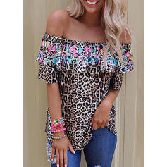 Print Leopard Off the Shoulder 1/2 Sleeves Casual Blouses