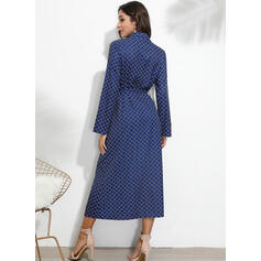Print Long Sleeves A-line Shirt/Skater Casual Midi Dresses