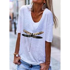 Print Animal V-Neck 1/2 Sleeves T-shirts