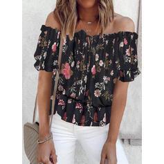 Tisk Květinový Odhalená ramena Krátké rukávy raglan manece Casual Bluze