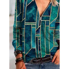 Geometrisk print V-hals Lange ærmer Casual Skjorter
