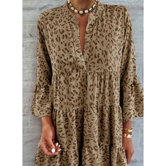 Leopard 3/4 Sleeves/Flare Sleeves Shift Above Knee Casual/Vacation Tunic Dresses