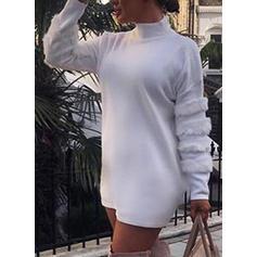 Jednolita Długie rękawy Koktajlowa Nad kolana Casual/Elegancki Sukienki
