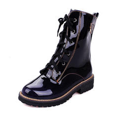 Women's Patent Leather Chunky Heel Boots Mid-Calf Boots Martin Boots With Lace-up shoes