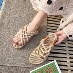 Women's Fabric PU Flat Heel Sandals Peep Toe shoes