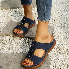 Frauen PU Keil Absatz Peep Toe Pantoffel mit Kristall Blume Schuhe