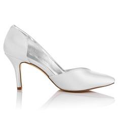 Frauen Satin Stöckel Absatz Geschlossene Zehe Absatzschuhe Färbbare Schuhe