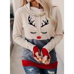 Print Color Block Lange ærmer Jule sweatshirt