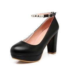 Women's Leatherette Chunky Heel Closed Toe Platform Pumps With Rhinestone