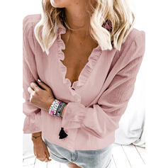 Solid V-Neck Lantern Sleeve Long Sleeves Casual Basic Blouses