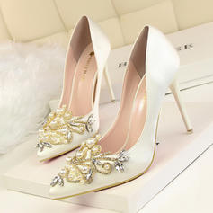 Women's Satin Stiletto Heel Pumps Closed Toe With Rhinestone Imitation Pearl shoes