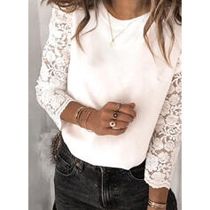 Solid Lace Round Neck Puff Sleeves Long Sleeves Elegant Blouses