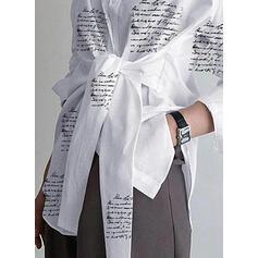 Estampado Lapela Manga Comprida Casual Blusas-camiseiros