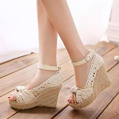 Dla kobiet Material Obcas Koturnowy Czólenka Koturny Z Klamra obuwie