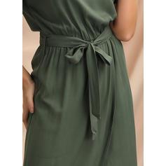 固体 半袖 Aラインワンピース 非対称 カジュアル ドレス