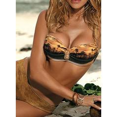 Låg Midja Tryck Rem Sexig fashionabla bikini Badkläder