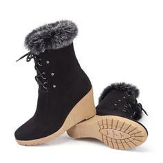 Frauen Veloursleder Keil Absatz Geschlossene Zehe Stiefel Stiefelette mit Zuschnüren Schuhe