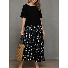 PolkaDot Short Sleeves Shift Casual Maxi Dresses