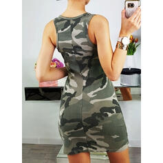 Print Sleeveless Sheath Above Knee Casual Tank Dresses