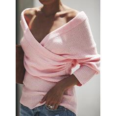 Sólido Cuello en V Casuales Sexy Suéteres