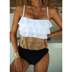 Spleiß Farbe Träger Rundhalsausschnitt Sexy Boho Badeanzüge Bademode