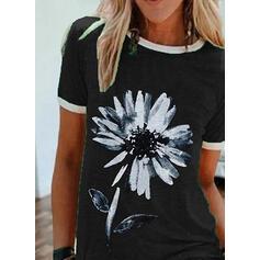 印刷 フローラル ラウンドネック 半袖 カジュアル Tシャツ