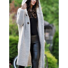 Solid Ribbed Hooded Cardigan