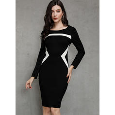 Color Block 3/4 Sleeves Sheath Knee Length Casual Dresses
