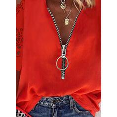Solid Blonder Kald skulder 1/2-ermer Cold Shoulder Sleeve Avslappet Bluser