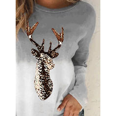 Print Round Neck Long Sleeves Christmas T-shirts