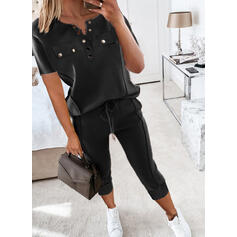 Solid Casual Plus Size Drawstring Button Two-Piece Outfits