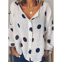 PolkaDot V Neck Long Sleeves Button Up Casual Blouses