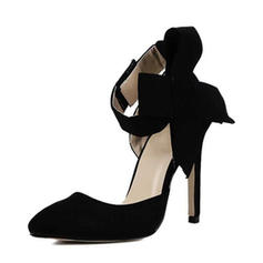 Women's Suede Stiletto Heel Pumps Closed Toe Mary Jane With Bowknot shoes