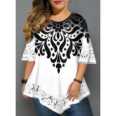 Lace Print Round Neck 3/4 Sleeves Casual Elegant Plus Size Blouses