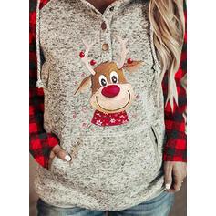 Animal Print Grid Long Sleeves Christmas Sweatshirt