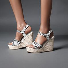 Mulheres PU Plataforma Sandálias Calços com Fivela Animal da Cópia sapatos