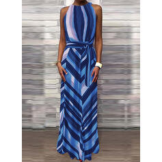 Print/Striped Sleeveless A-line Casual Maxi Dresses