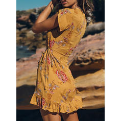 Print/Floral Short Sleeves Sheath Above Knee Casual/Boho/Vacation Wrap Dresses