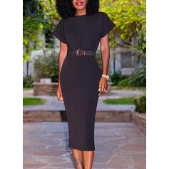 Solide Korte Mouwen Bodycon Potlood Zwart jurkje/Elegant Medium Jurken