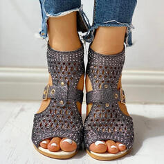 De mujer PU Tacón bajo Sandalias Encaje con Rhinestone Agujereado zapatos