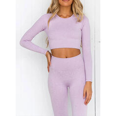 Round Neck Long Sleeves Solid Color Sports Leggings Sports Bras Yoga Sets