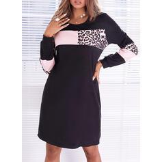 Impresión/Trozos de color/Leopardo Manga Larga Vestidos sueltos Sobre la Rodilla Casual Vestidos