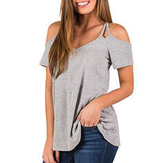 Solid Cold Shoulder Short Sleeves Casual T-shirts