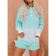 Color Block Sporty Casual Tee & Pants Two-Piece Outfits Set