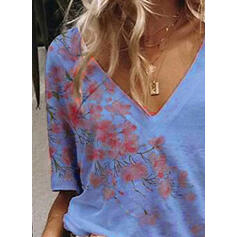Print Floral V-Neck 1/2 Sleeves Casual T-shirts