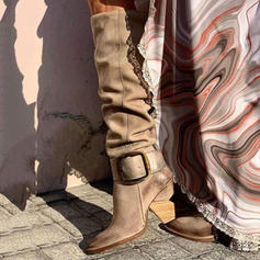 Kvinnor PU Tjockt Häl Pumps Stövlar Knäkickkängor med Spänne skor