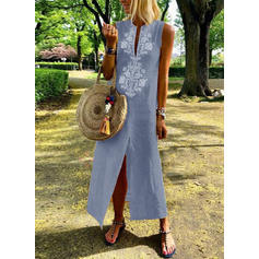 Print Sleeveless Shift Maxi Boho/Vacation Dresses