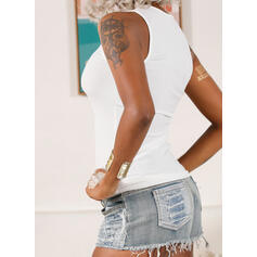Solid V-Neck Sleeveless Button Up Casual Basic Tank Tops