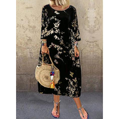 Print 3/4 Sleeves Shift Midi Casual Dresses