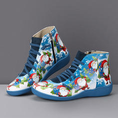 Donna PU Senza tacco Stivali alla caviglia con Cerniera Allacciato scarpe